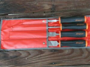 Snap On 4 Pc Sghf500 Orange Black Handle File Set Flat Round Triangle W bag