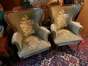 Gorgeous Pair Of Antique Solid Mahogany Wing Back Arm Chairs Tassle Design