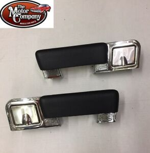 1964 1965 Chevelle Chrome Rear Arm Rest Bases With Ash Tray Black Pads Pair