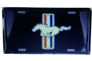 Ford Mustang Pony Logo On Black Metal License Plate