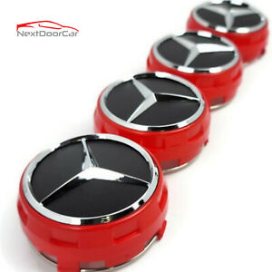 Set Of 4 Fits Mercedes Benz Wheel Raised Center Caps Red Hubcaps 75mm