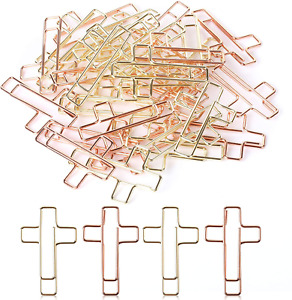 Cross Paper Clips Gold Rose Gold Color Bible Journaling Items 35 Pcs