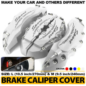 Universal 4x Silver Brake Caliper Covers Sport Style Disc Car Front Rear Kit L m