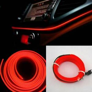 2m red Led Car Interior Decor Atmosphere El Wire Strip Light Lamp Car Accessory