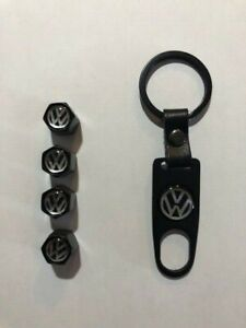Universal Wheel Valve Stem Cap Set With Wrench Keychain For Vw Volkswagen Black