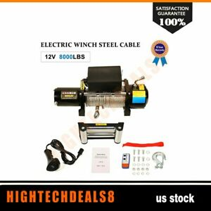 Electric Winch Recovery 12v 8000lbs Steel Cable Truck Suv Offroad Heavy Duty
