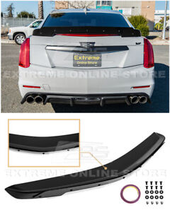 For 14 19 Cadillac Cts Carbon Package Glossy Black Rear Wickerbill Spoiler