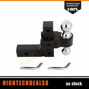 Tow Trailer Hitch Double Ball Mount Truck Towing Black Aluminum Adjustable New
