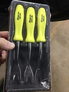 Snap On Tools Hi viz Yellow 3 Piece Trim Pad Tool Set Hard Handle