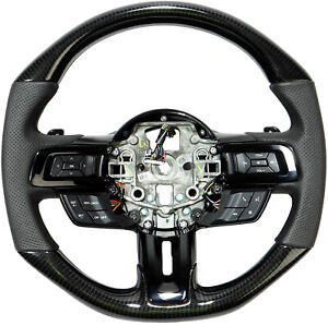 Ford Mustang 2015 2020 Gt Gt500 Style Shelby Steering Wheel Carbon Fiber Leather