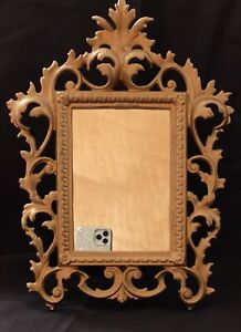 Vintage Victorian Solid Brass Ornate Mirror Picture Frame Easel Stand