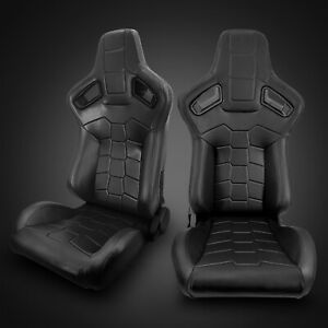 Universal Black Pvc Main Leather Left Right Sport Racing Seats Pair