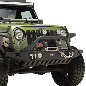 Front Bumper With Skid Plate Winch Plate Fit For 07 18 Jeep Wrangler Jk