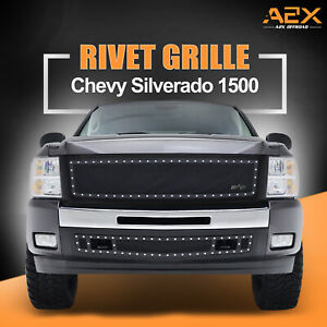 2007 2013 Chevy Silverado 1500 Rivet Mesh Steel Replacement Grille With Shell