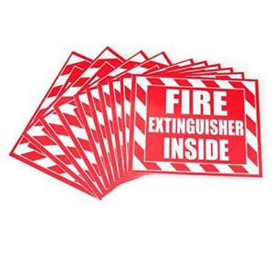 10 Pack Fire Extinguisher Inside Sticker Self 5 X 4 Red On White