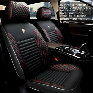 Universal Pu Leather Car Cover Seat Deluxe Protector Cushion Front Rear Cover
