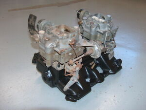 1956 Cadillac 2x4 Dual Quad Carter Carburetor And Intake Manifold Assembly