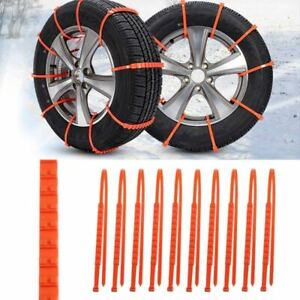 10 Set Anti Skid Chains For Snow Mud Car Truck Wheel Tyre Tire Cable Ties Nylon