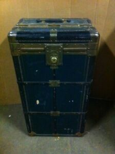 Hartmann Train Ship Steamer Trunk Cushion Top Wardrobe Gibraltarized 1900s Prop
