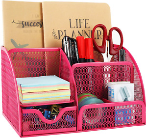 Mesh Desk Organizer 6 Compartment For Office Supplies Pink
