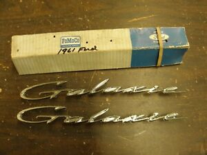 Nos Oem Ford 1961 Galaxie Fender Scripts Ornaments Emblems Trim Pair