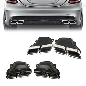 Exhaust Tip Muffler Pipe Chrome Black For Mercedes Benz C W205 C63 Amg Style