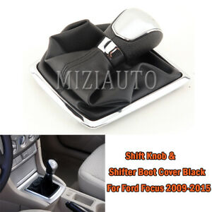 Shift Knob shifter Boot Cover Black With Black Stitches Leather For Ford Focus