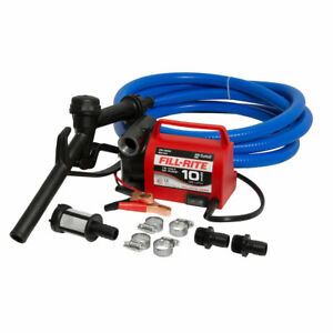 Fill rite 12v 10 Gpm Fuel Transfer Pump Suction And Discharge Hoses open Box