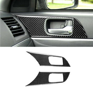 2pcs For Mitsubishi Lancer 2008 15 Carbon Fiber Interior Door Handle Cover Trim