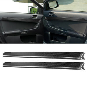 6pcs Set For Mitsubishi Lancer 2008 2015 Carbon Fiber Door Panel Cover Trim