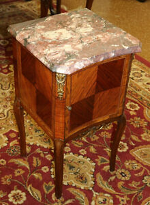 Gorgeous French Inlaid Marble Top Kingwood Nightstand Circa 1920s