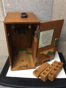 Vtg Wood Microscope Case Box W Finger Jointed Joints Has Key Very Good