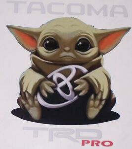 Baby Yoda W Text Sticker Decal Fit Tundra Tacoma Prius Camry Corolla Sienna