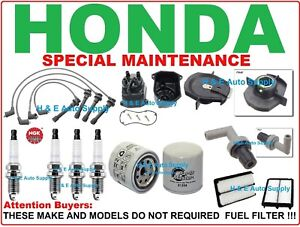 For 98 02 Accord Tune Up Kits Spark Plugs Wire Set Filter Dist Cap Rotor