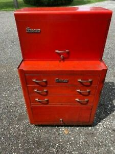 Vintage Snap on Tool Kr352 Roll Cab Kr56 Top Box Matching Combo 1956 With Keys