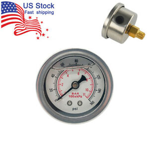 White Universal Fuel Pressure Gauge Liquid 0 160psi Oil Pressure Gauge 1 8 Npt