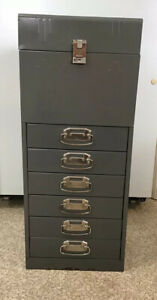 Vintage Acorn Metal File Cabinet With Key 6 Drawers Industrial 30 Tall