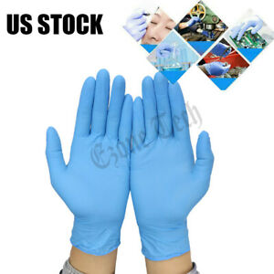 100 Pcs Blue Nitrile Gloves Powder Latex Free Durable Rubber Gloves Large Size