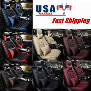 Universal Car Seat Cover Full Set 5seats Pu Leather Luxury Front Rear Cushion Us