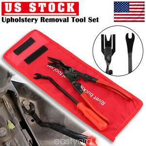 2pc Car Door Panel Removal Tool Kit Clip Pliers Upholstery Trim Removal Pry Set