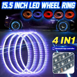 4in1 15 5 Car Rgb Led Wheel Ring Rim Strip Lights Bluetooth App Control T