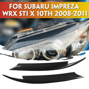 For Subaru Impreza Wrx Sti 08 11 Carbon Fiber Headlight Eyelids Eyebrows Cover