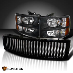 For 2007 2013 Chevy Silverado 1500 Black Headlights glossy Black Vertical Grille