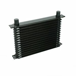 15 Row 10an Engine Trans Transmission Universal Oil Cooler Black