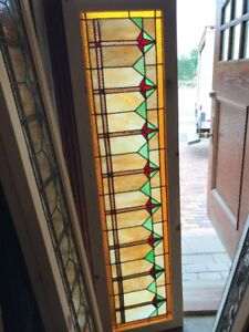 Sg 2420 Antique Deco Style Stained Glass Transom Window 18 X 65 75