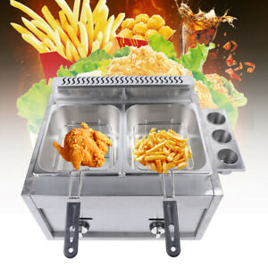 6l 2 Countertop Deep Fryer Dual Tank Commercial Restaurant Gas Fryer Kitchen