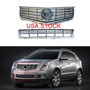 For 2013 2015 Cadillac Srx Chrome Mesh Front Bumper Upper Lower Grille Grill