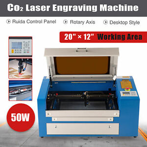Co2 Laser Engraving Machine Engraver Cutter 20 12 50 30 Cm 50w W rotary Axis