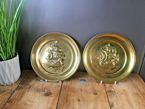 Pair Of Antique Decorative Galleon Ship Sailing Brass Wall Plaques Plate Charger
