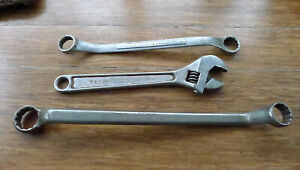 3 Vtg Wrench Lot Armstrong No8037 Williams Ap 12 Craftsman Double Offset